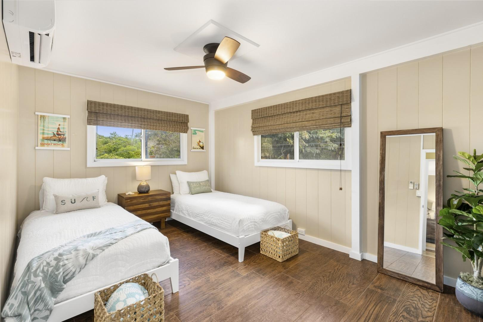 Upstairs second bedroom with twin beds