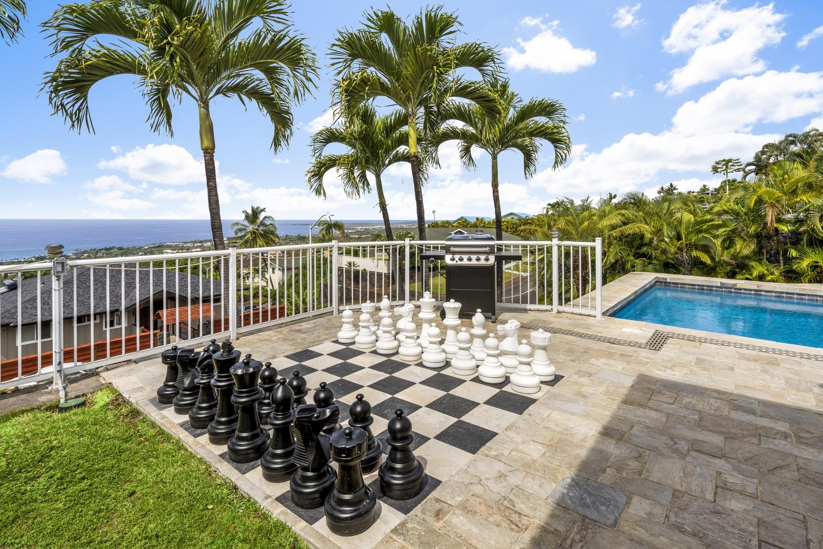 Enjoy countless hours of fun with the oversized chess set pool side!