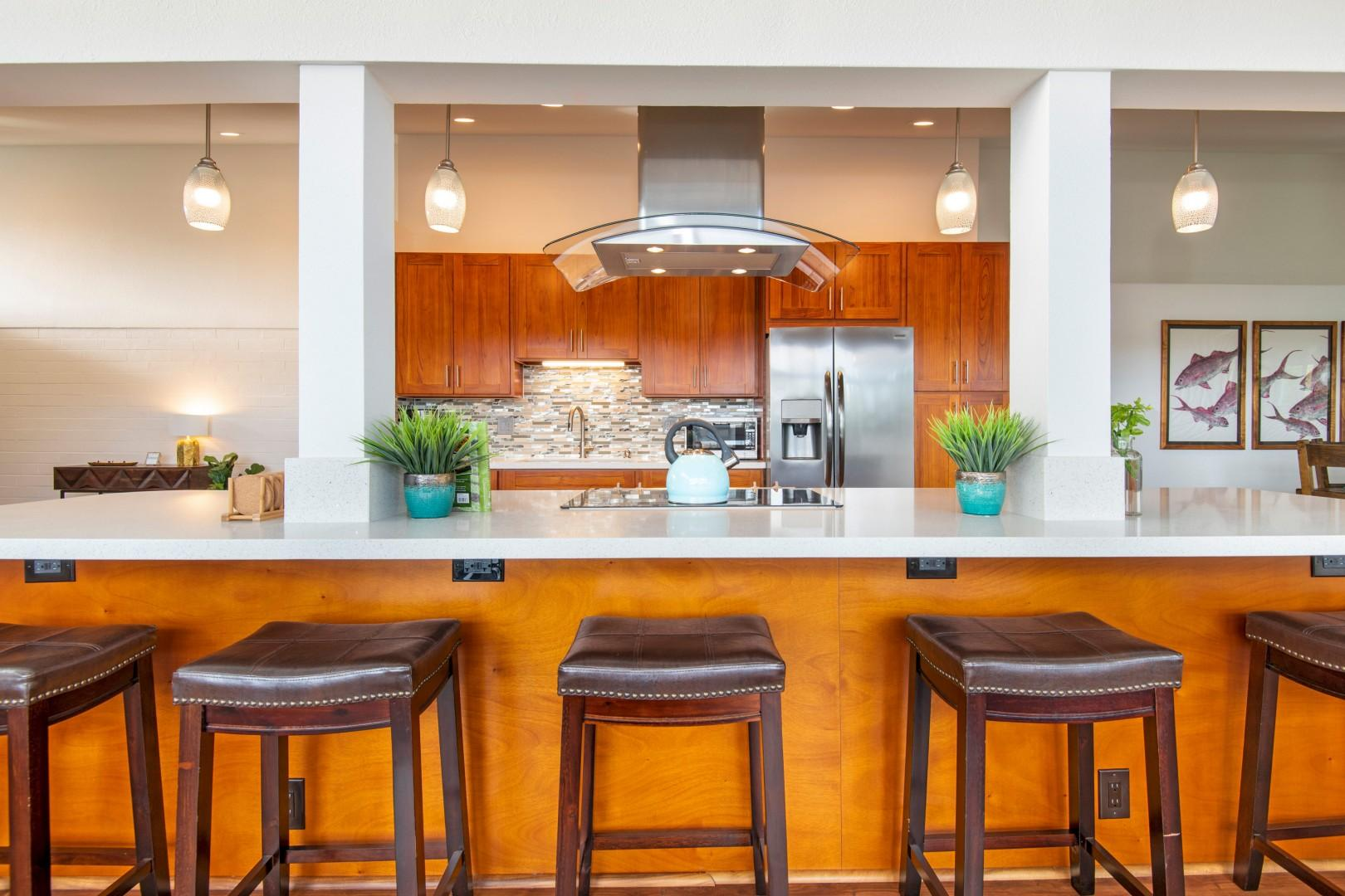 Cook up a delicious meal in the kitchen with a breakfast nook, perfect for feasting before you tour around the island.