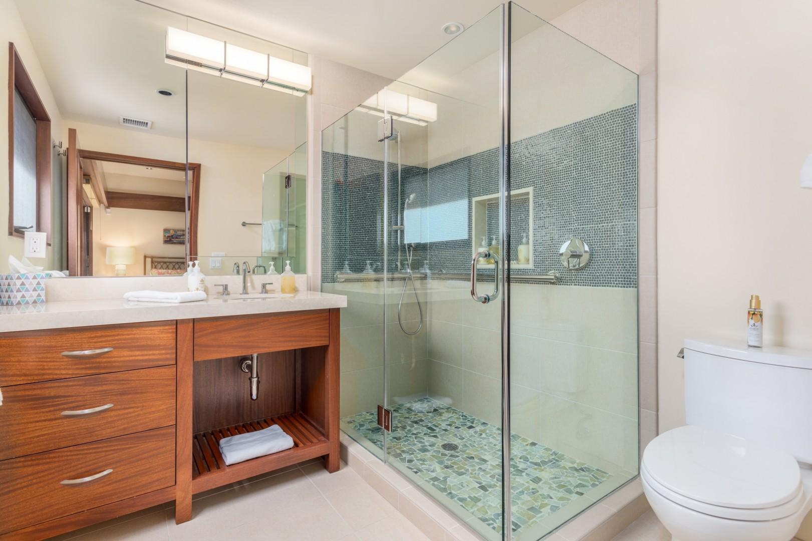 Fourth Bathroom, Recently Remodeled, w/Walk-In Shower & Custom Soft-Close Cabinetry.