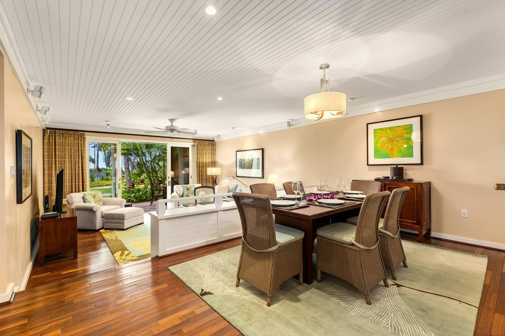 Dining area with a view overlooking the sunken living room.