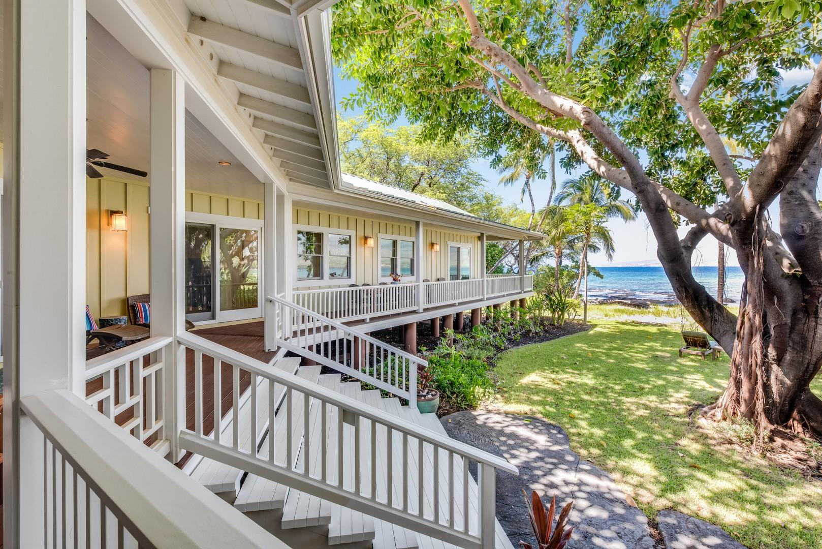 Expansive Wrap Around Lana in Front of Great Room w/ Grand Staircase to Shady Lawn and Beach w/ Spectacular Ocean Views
