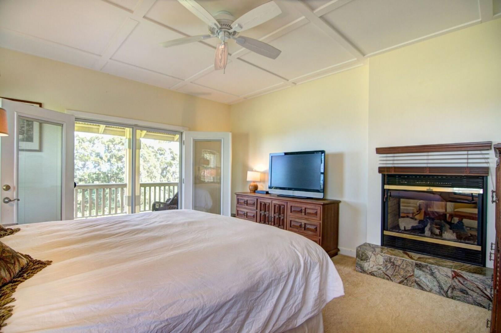 The master bedroom has a king sized bed, access to the back lanai, TV and fireplace...