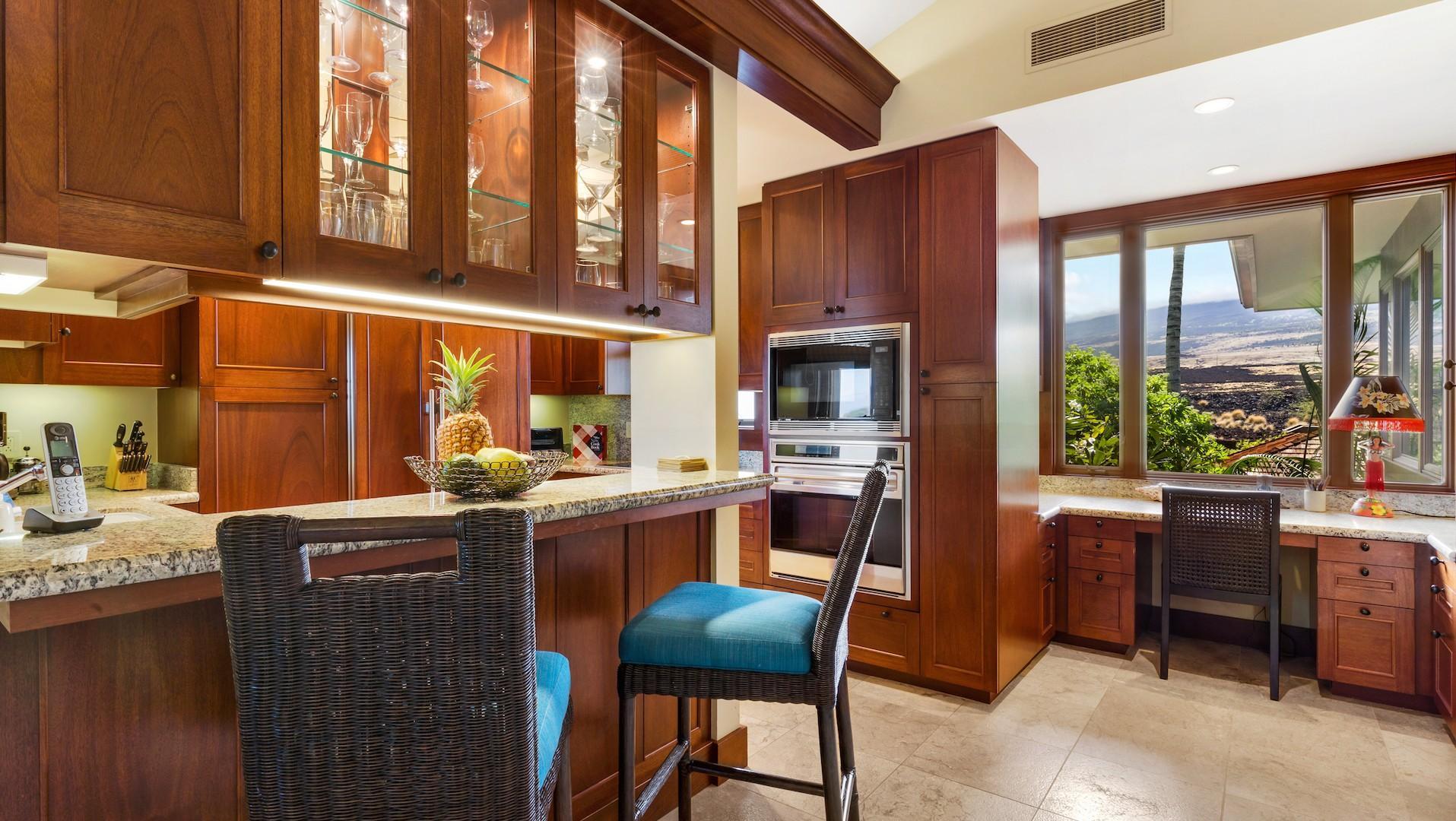 Kitchen bar and desk.
