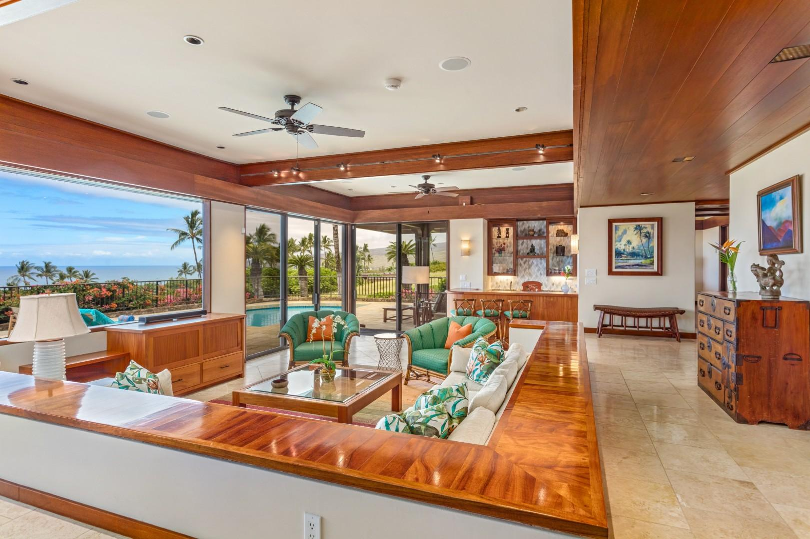 Elegant Koa Woodwork, High Valance Ceilings, Incredible Natural Light & Exquisite Views.