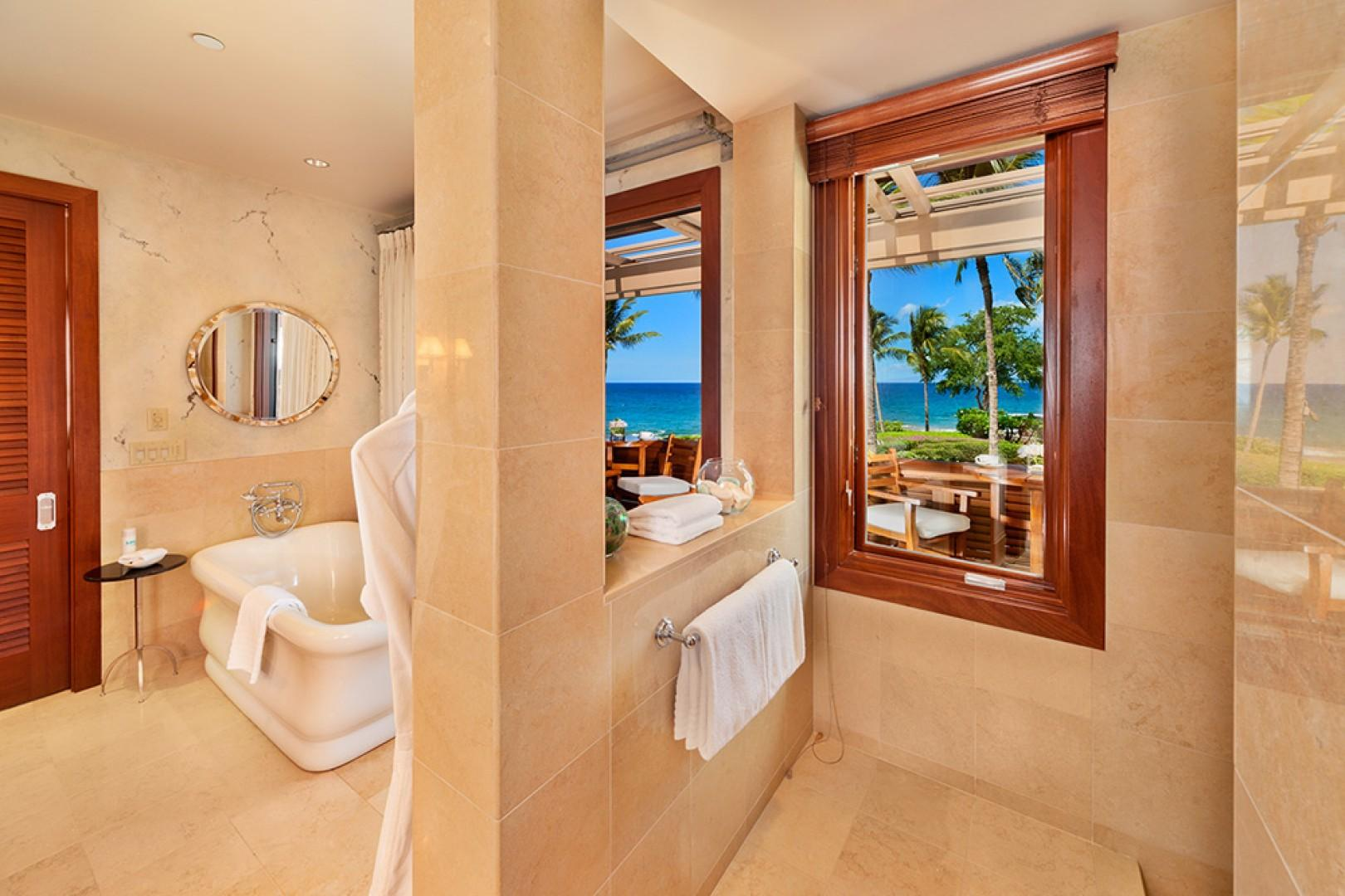 The Master Bath with Dual Vanity Sinks, Deep Soaking Tub, Separate Shower, Private WC, Walk-In Closet, Safe, Private Veranda and Ocean Front View