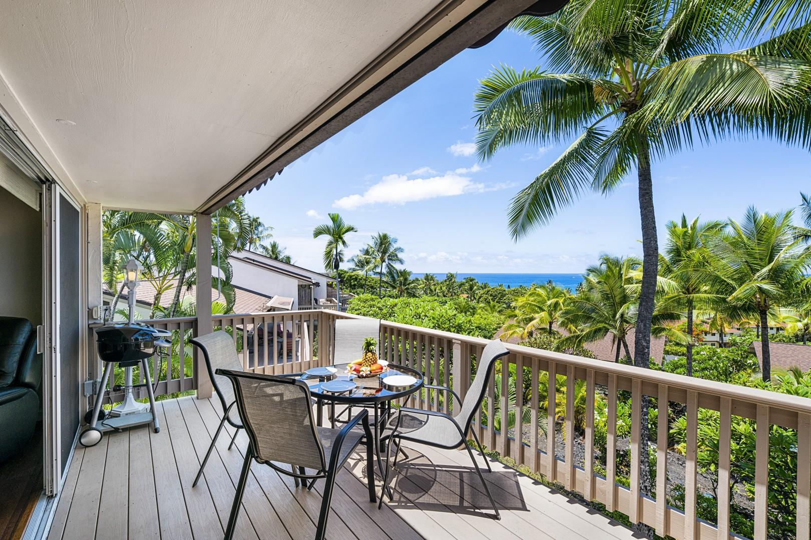 Large Upstairs Lanai with sun shade, electric BBQ, and dining