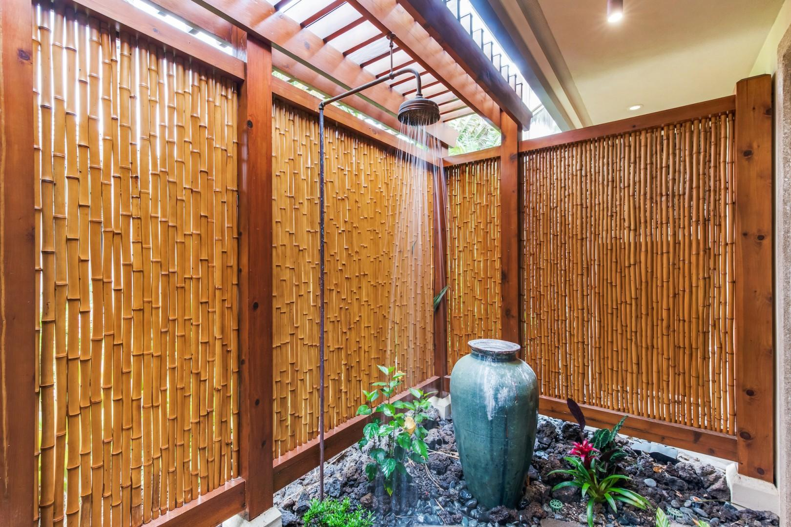 Bamboo Enclosed Outdoor Shower Off Master Bath, a Tropical Treat!