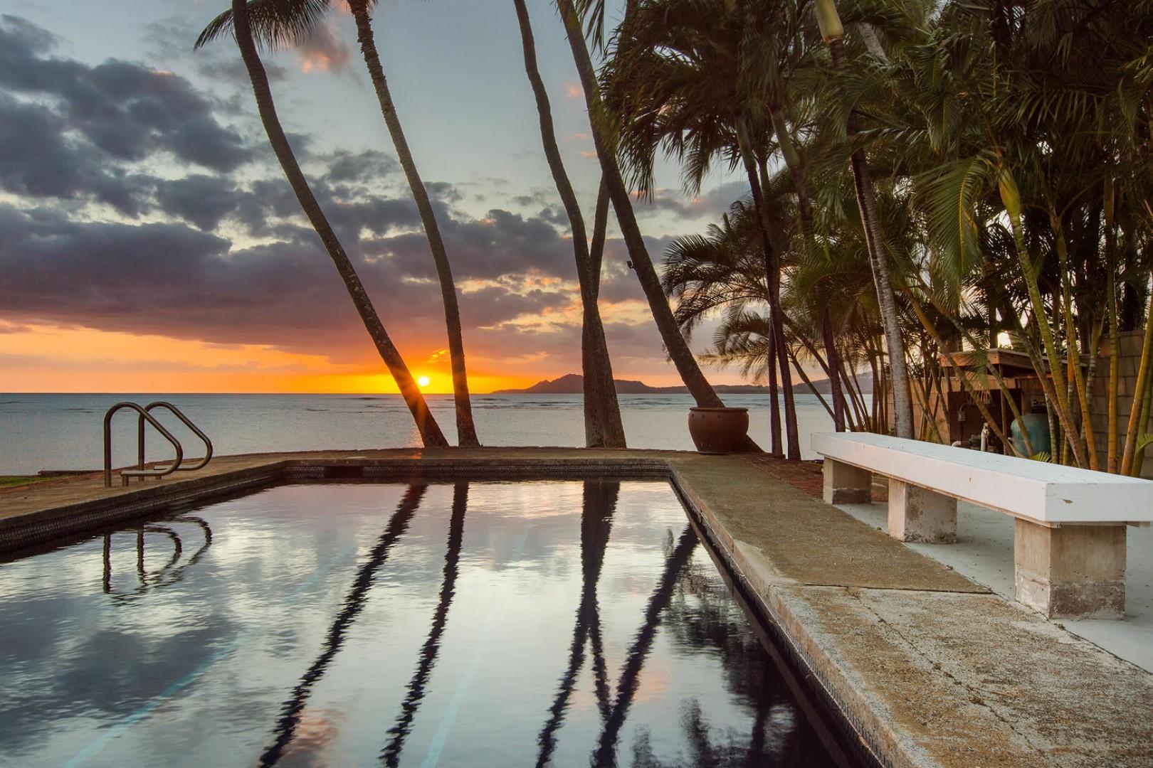Enjoy oceanfront sunset views.