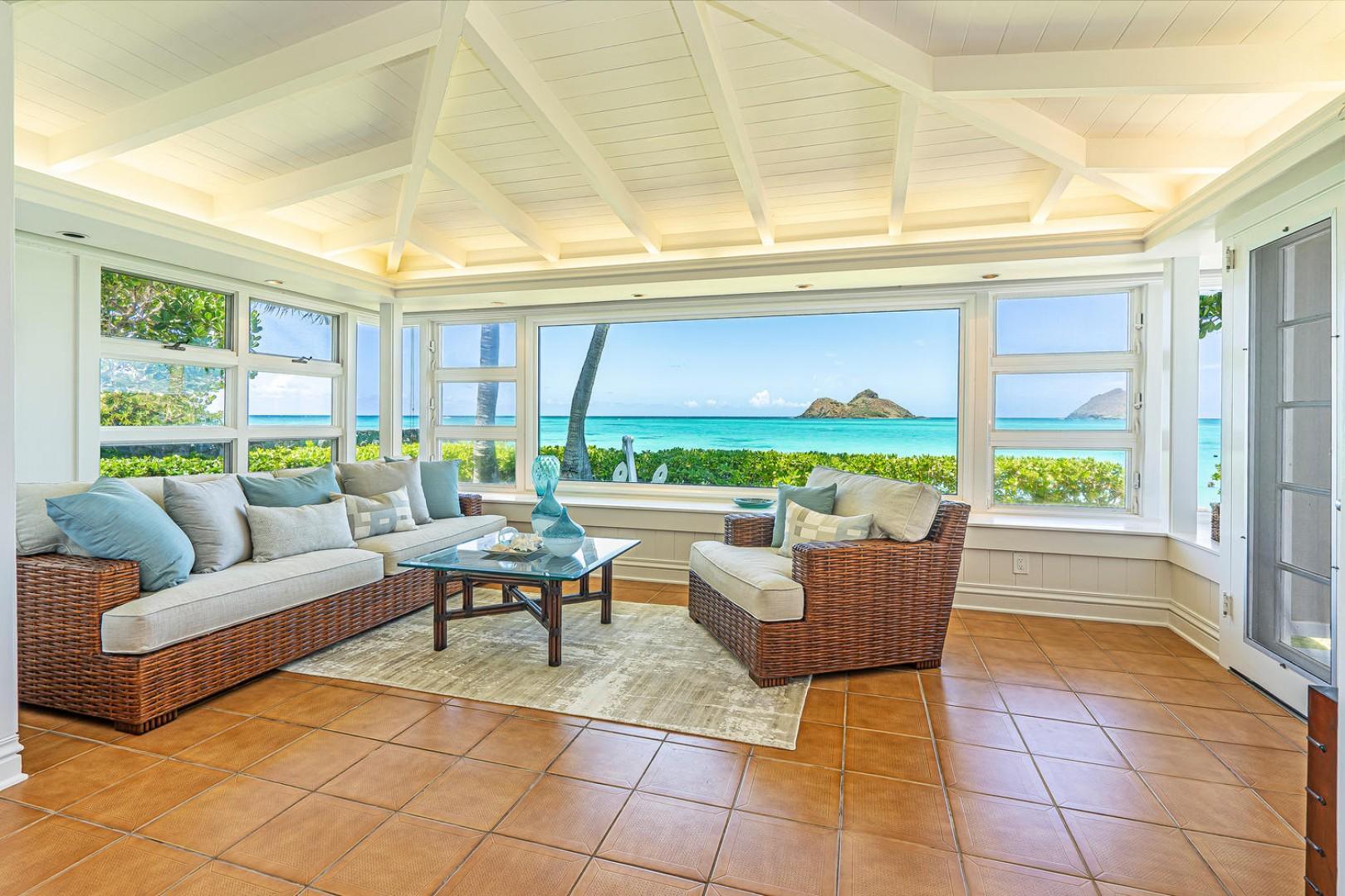 Lanikai Seashore Formal Living with View of Mokulua Islands