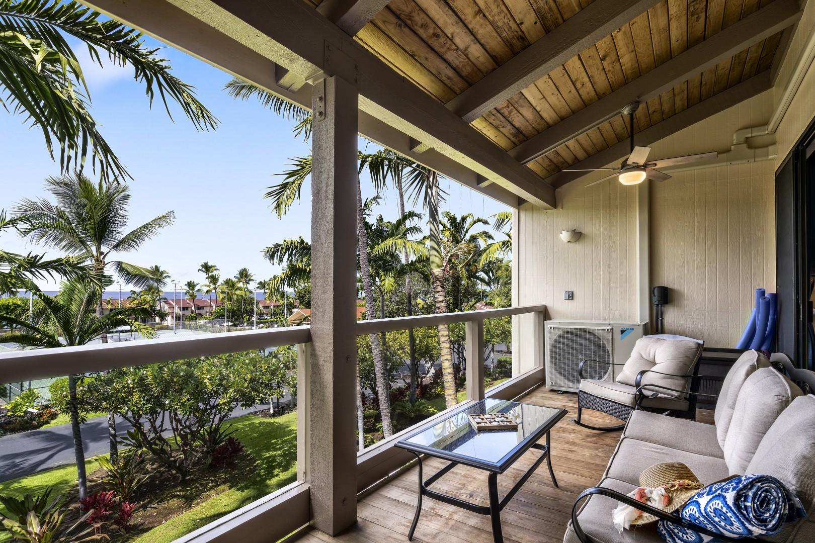 There are a number of seating options on the spacious Lanai