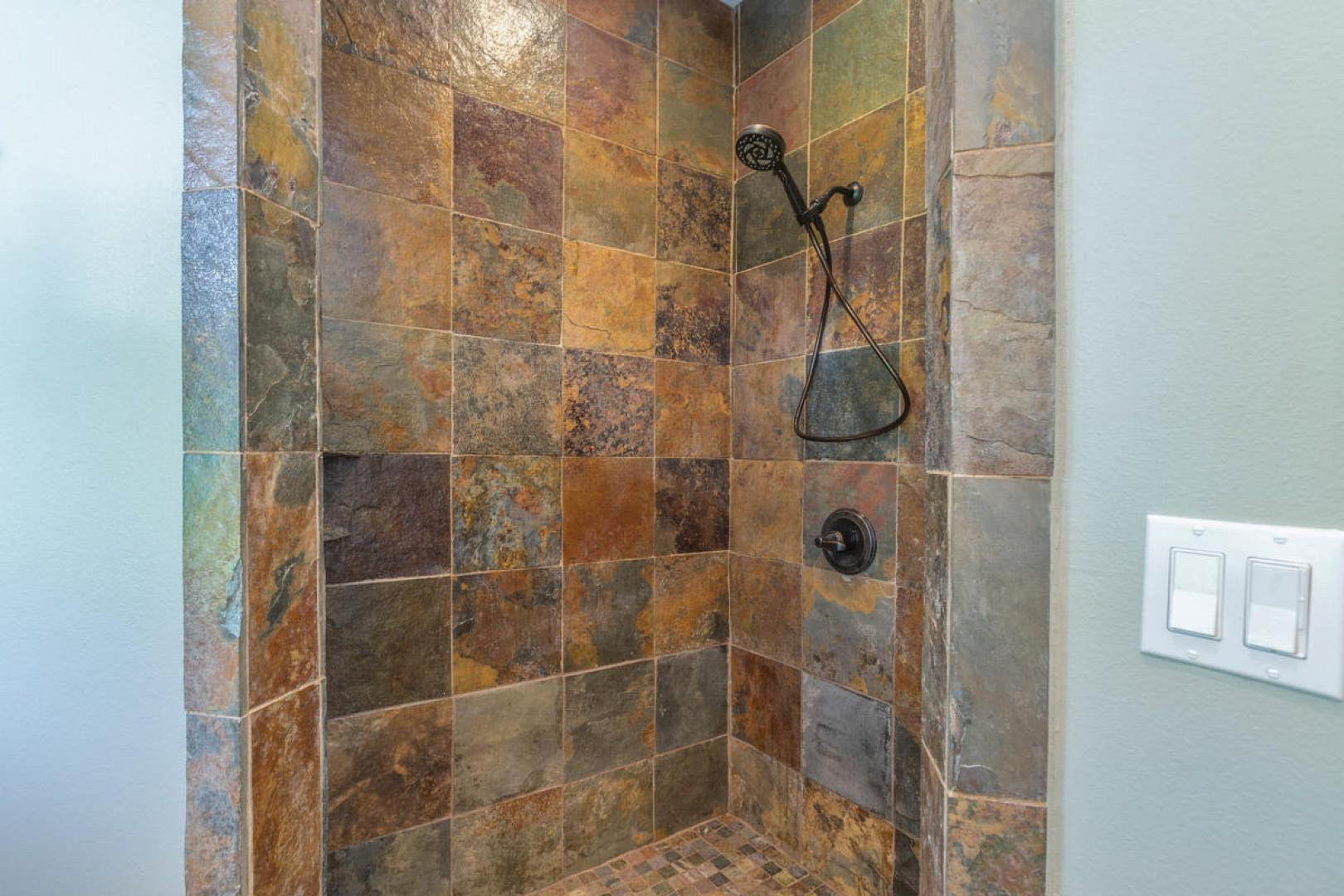 Tile shower in shared bath