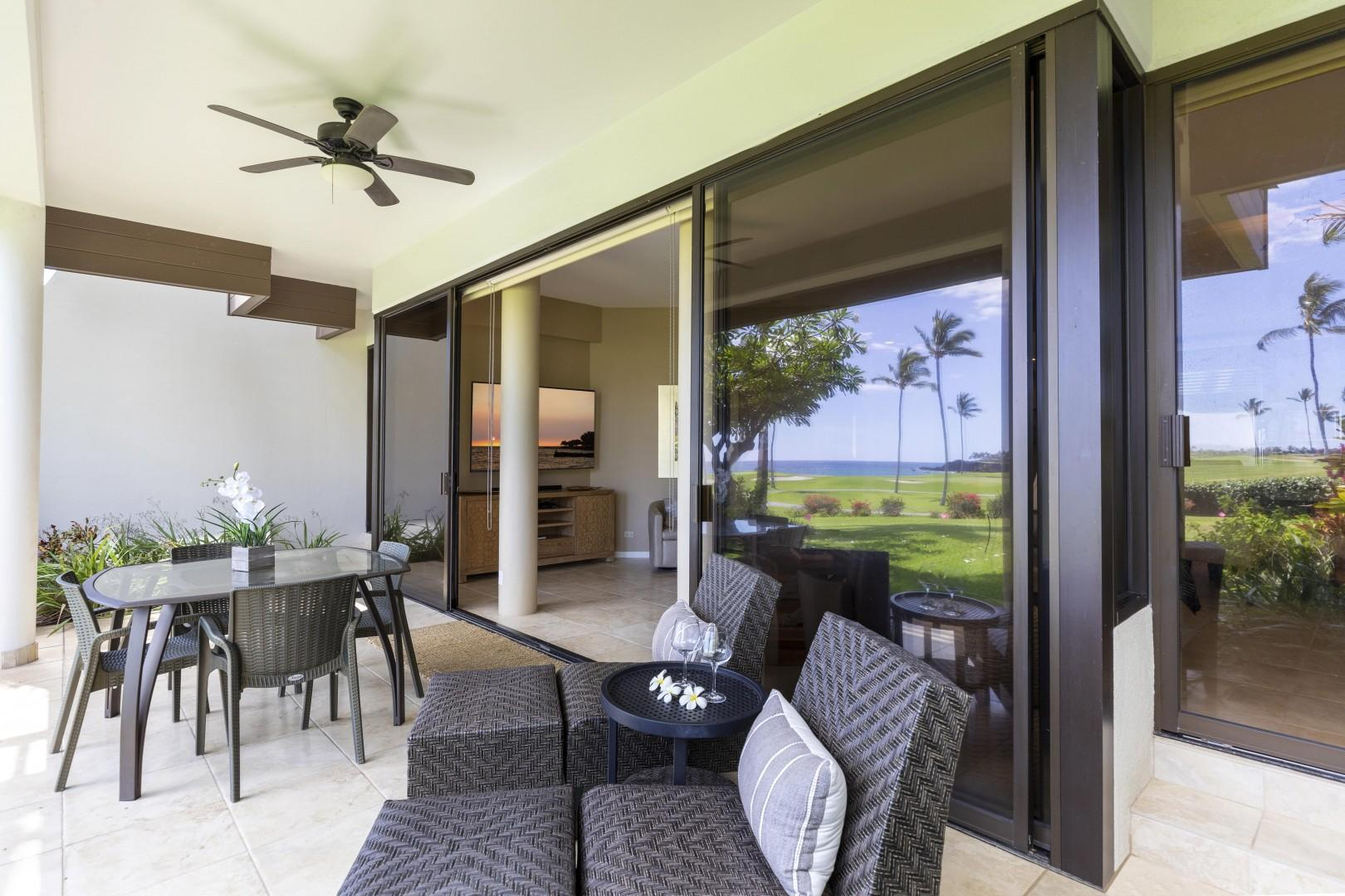 Read a book or take in the beauty from the lounge chairs on the lanai.