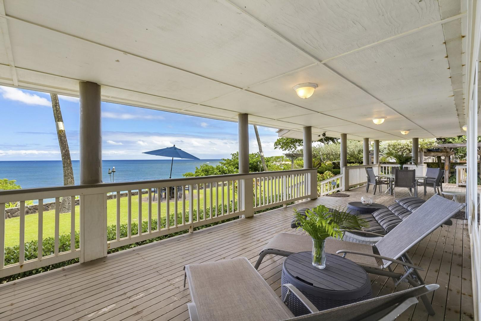 Spacious downstairs lanai area with panoramic views of the ocean.