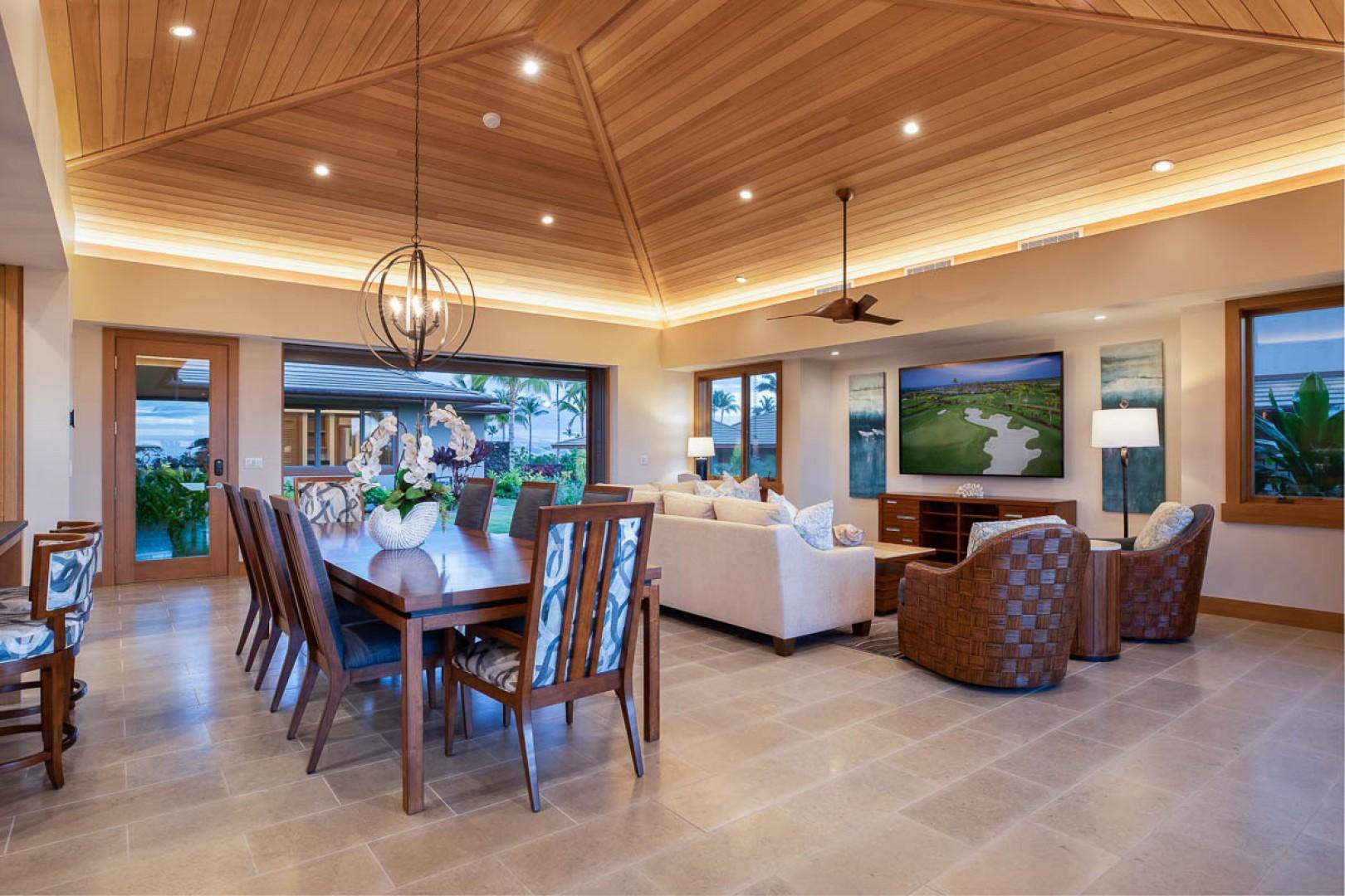 Luxury living area with custom AV system and Power blinds