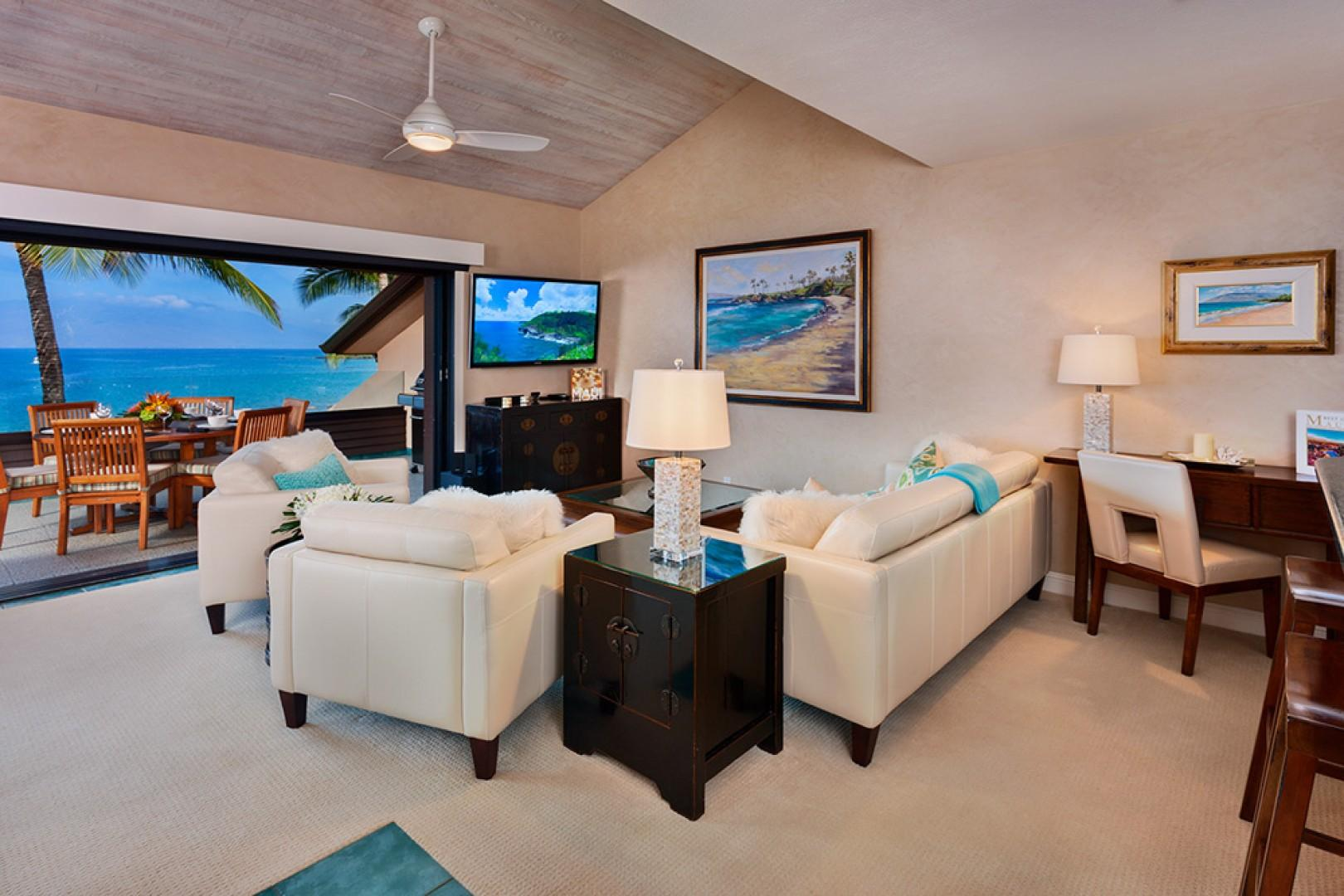 Sunny Surf E301 - Direct Oceanfront and Panoramic Beachfront View Great Room with Vaulted Ceilings and State of Art Entertainment System