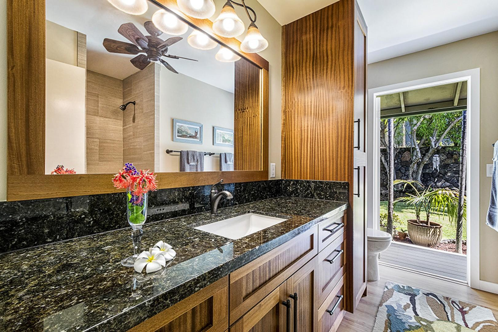Guest bathroom with access to outside