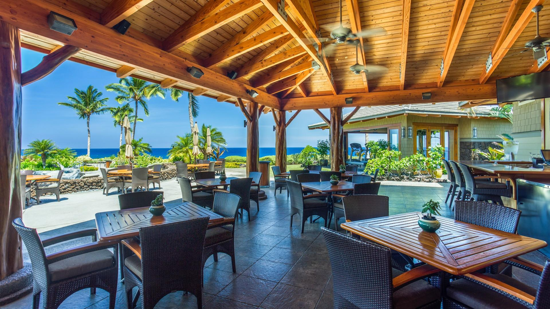 More seating options and views at Hali'i Kai Resort's private Ocean Club Bar & Grille