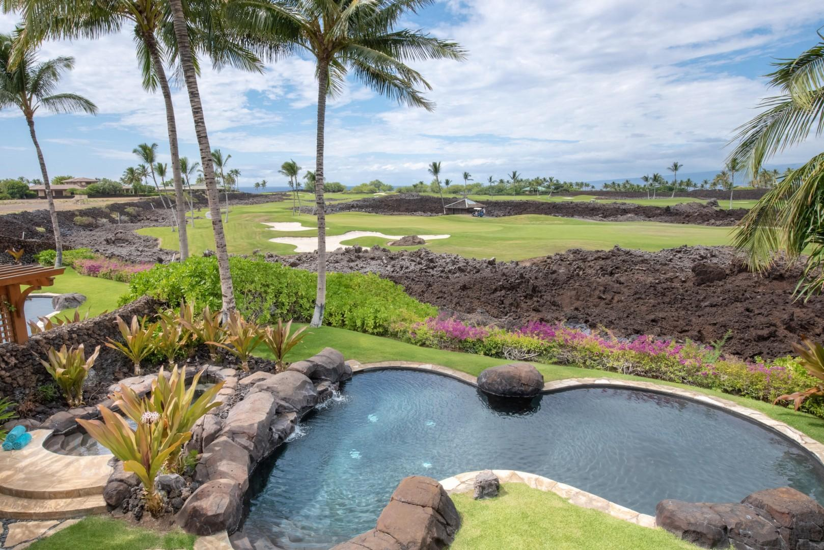 View of the Pool and Golf Course from Upstairs Master Lanai
