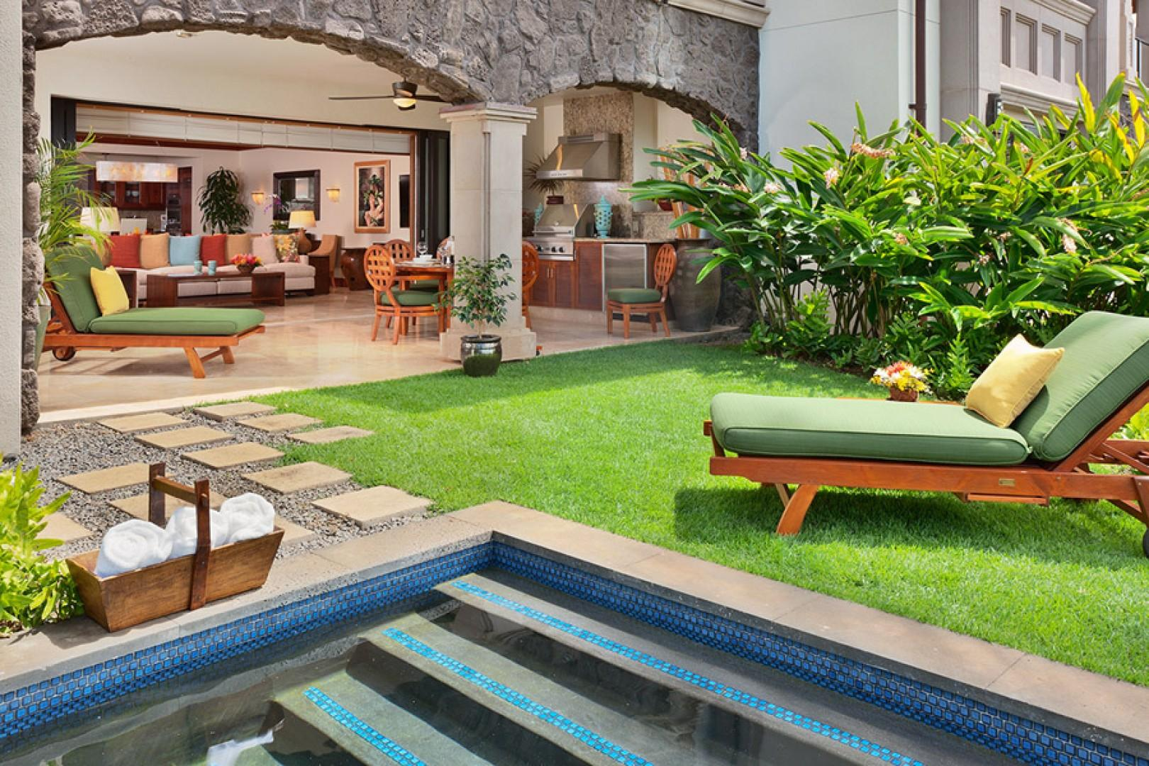 Private Grass Lawn and Garden Just for D101 Coco Palms Villa with Full Direct Ocean and Sunset View and Plunge Pool