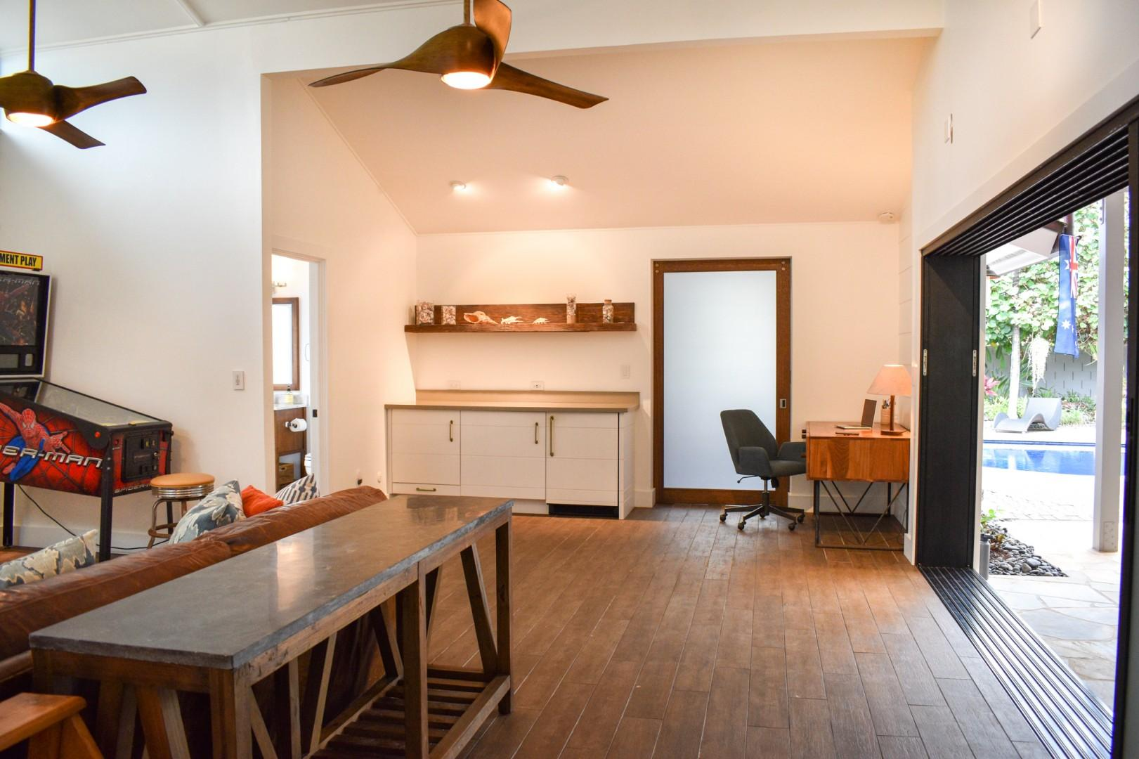 Cottage bar with built in mini fridge and its on private bedroom.