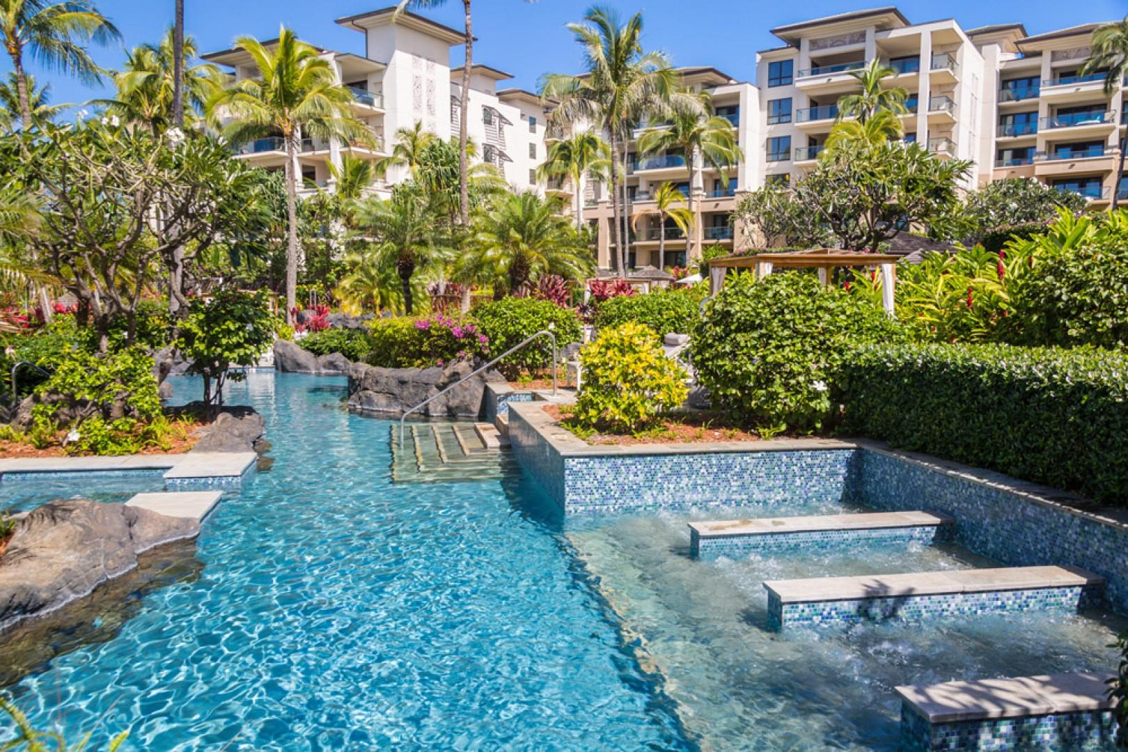 Soak in the Cool Water Bubble Baths and Find the Hidden Hot Tub Spas. Lounge in a Tropical Oasis.