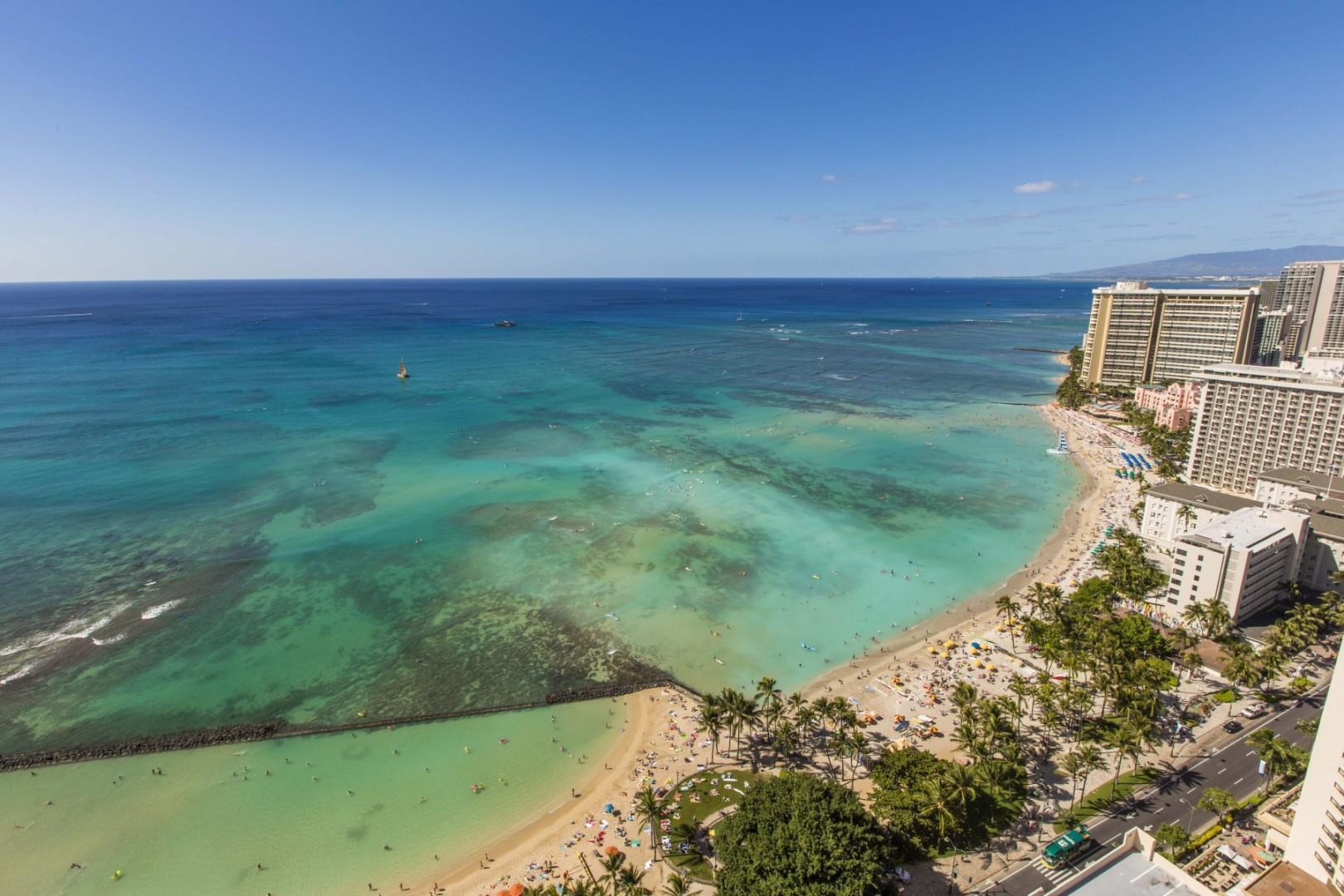 Arial view of Waikiki.
