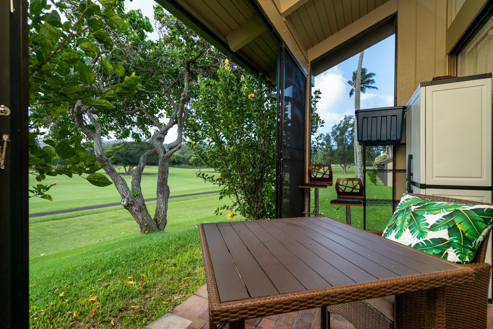 Outdoor patio with a view of the golf course