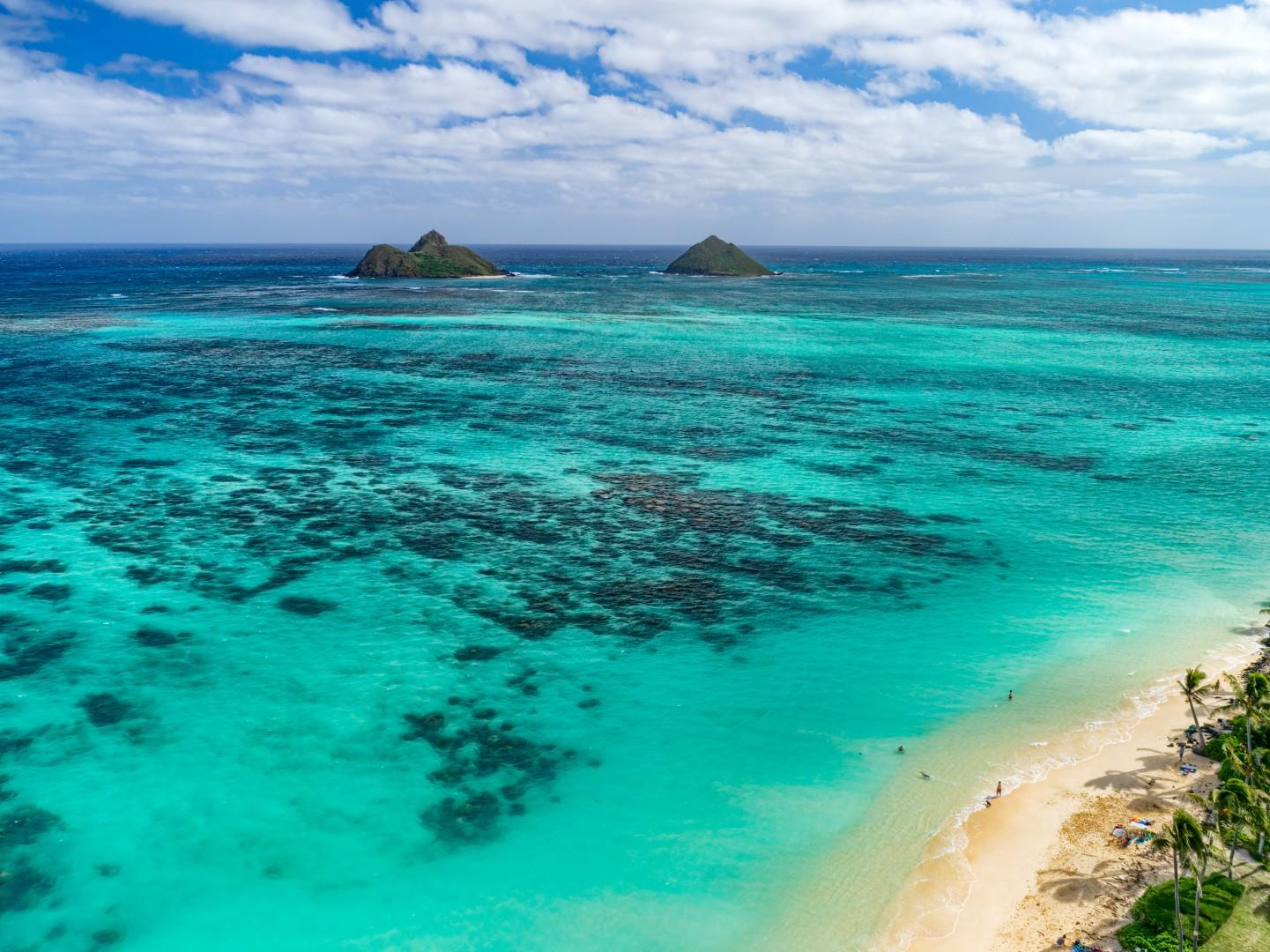 Lanikai Beach and the Mokulua Islands.
