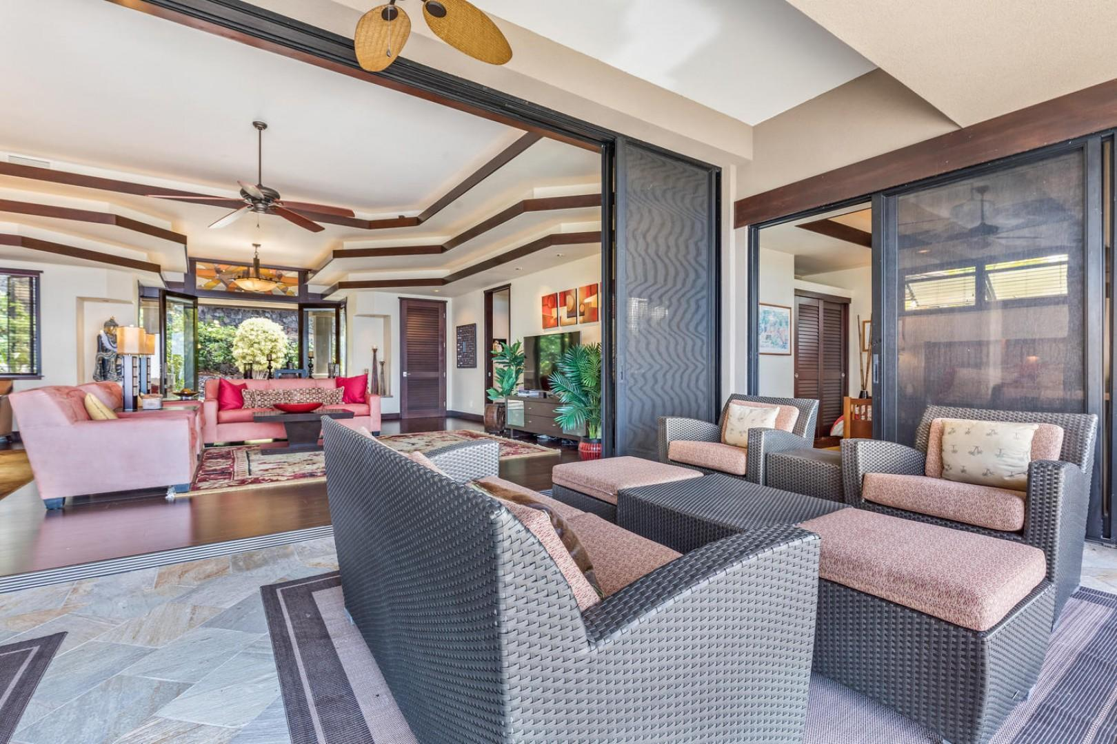Enjoy the spacious outdoor Lanai seating and dining!