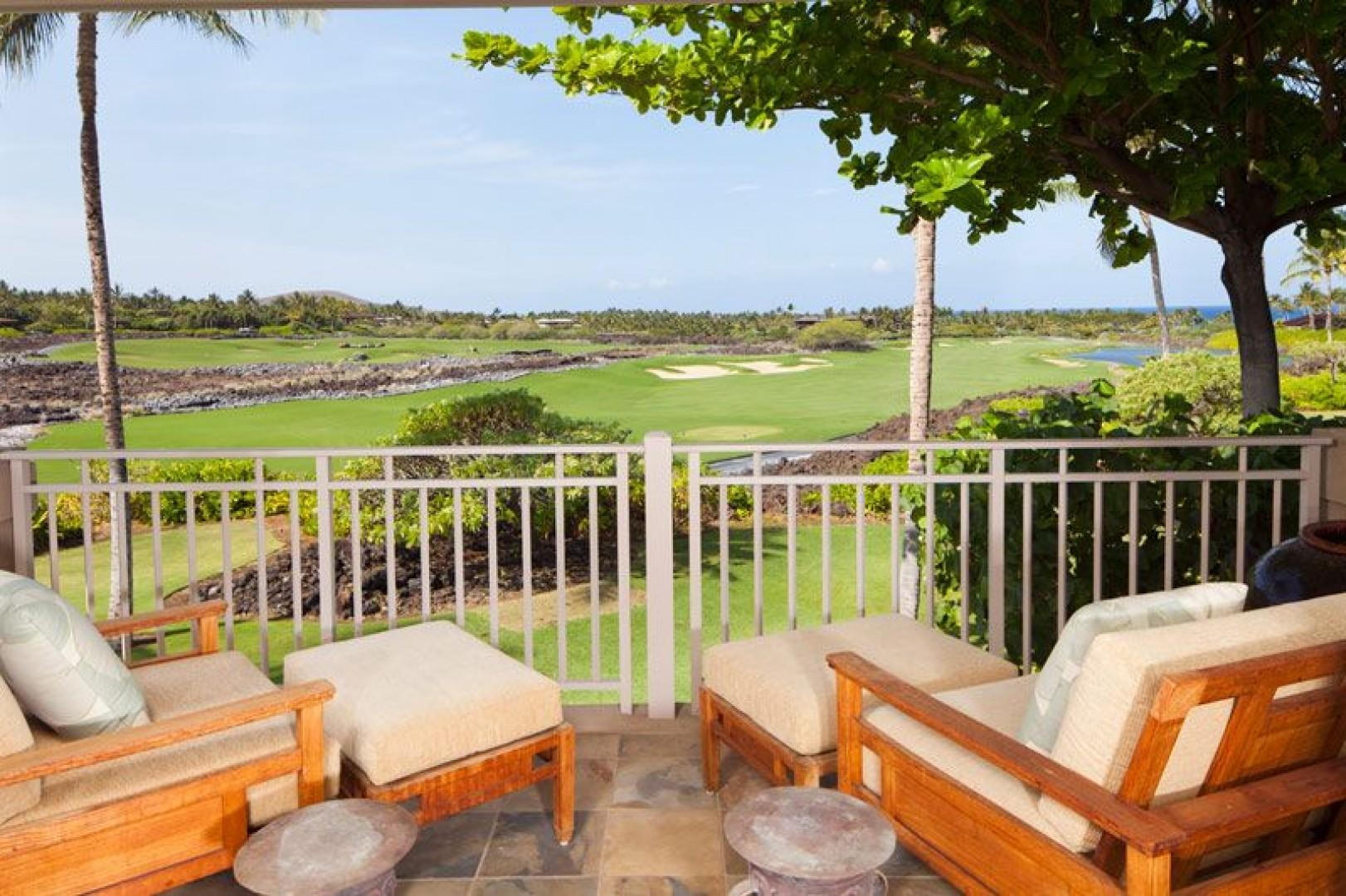 Spectacular views of the Hualalai Golf Course and Ocean