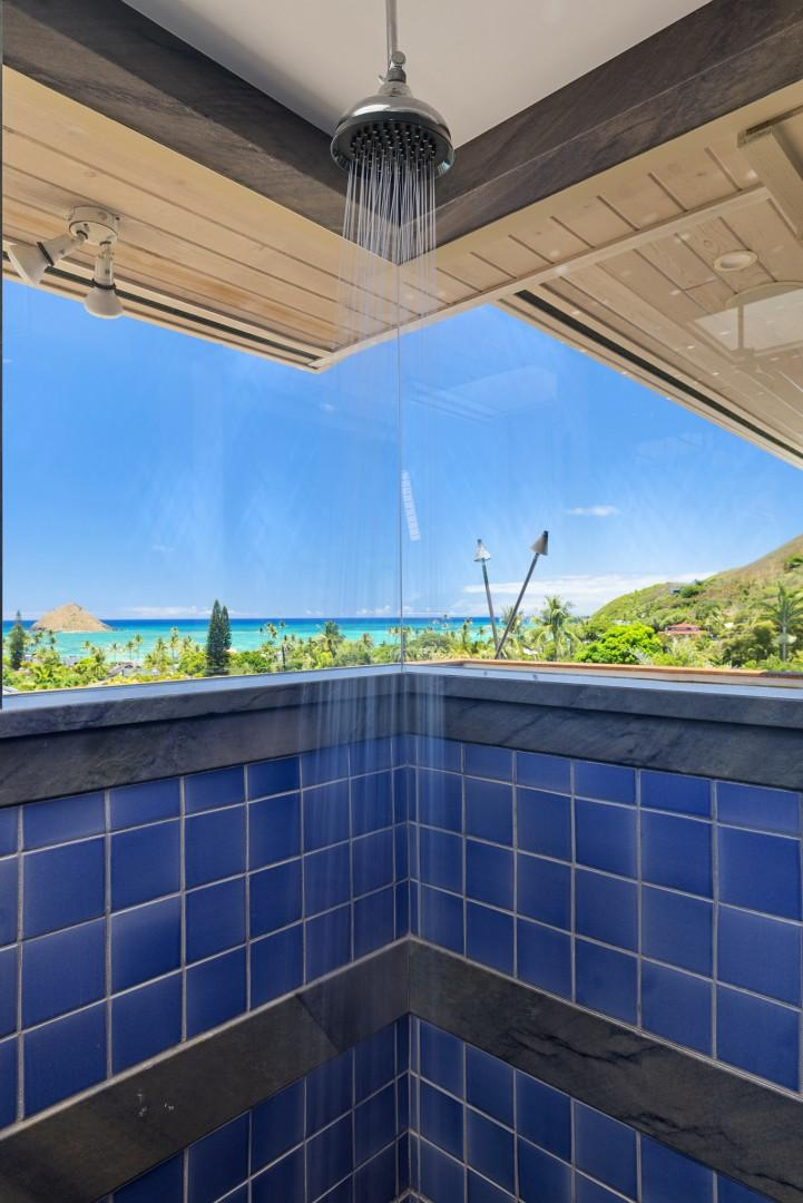 Master Bathroom Shower and Ocean View