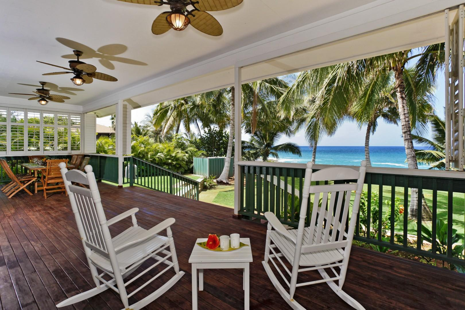 Enjoy your oceanfront view from the covered lanai of the Makaha Hale.
