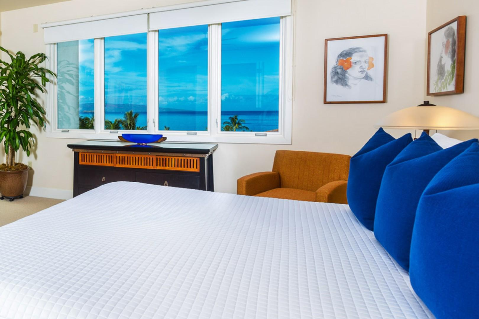 King bed and ocean view.