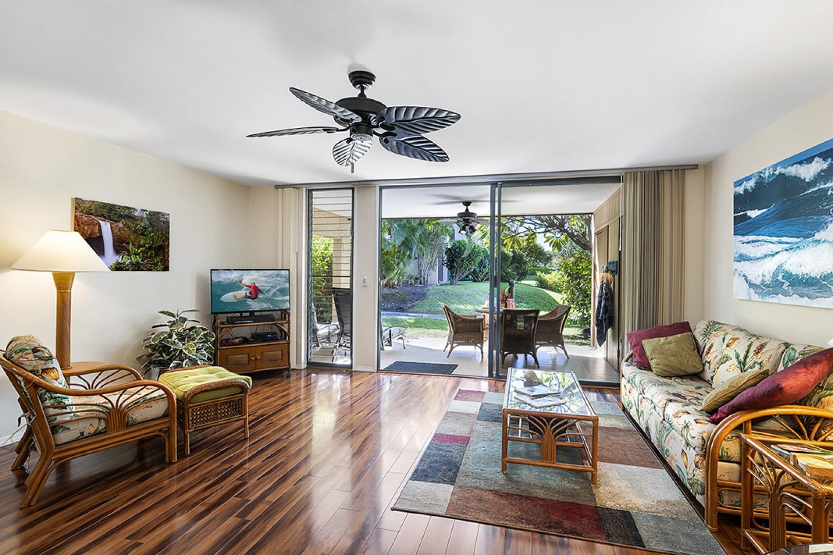 Lanai access from the spacious living room