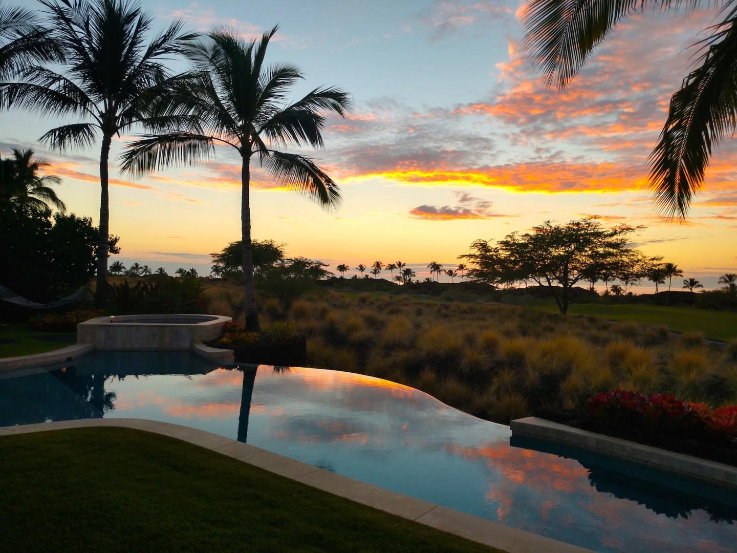 Gorgeous sunset views from your private yard.