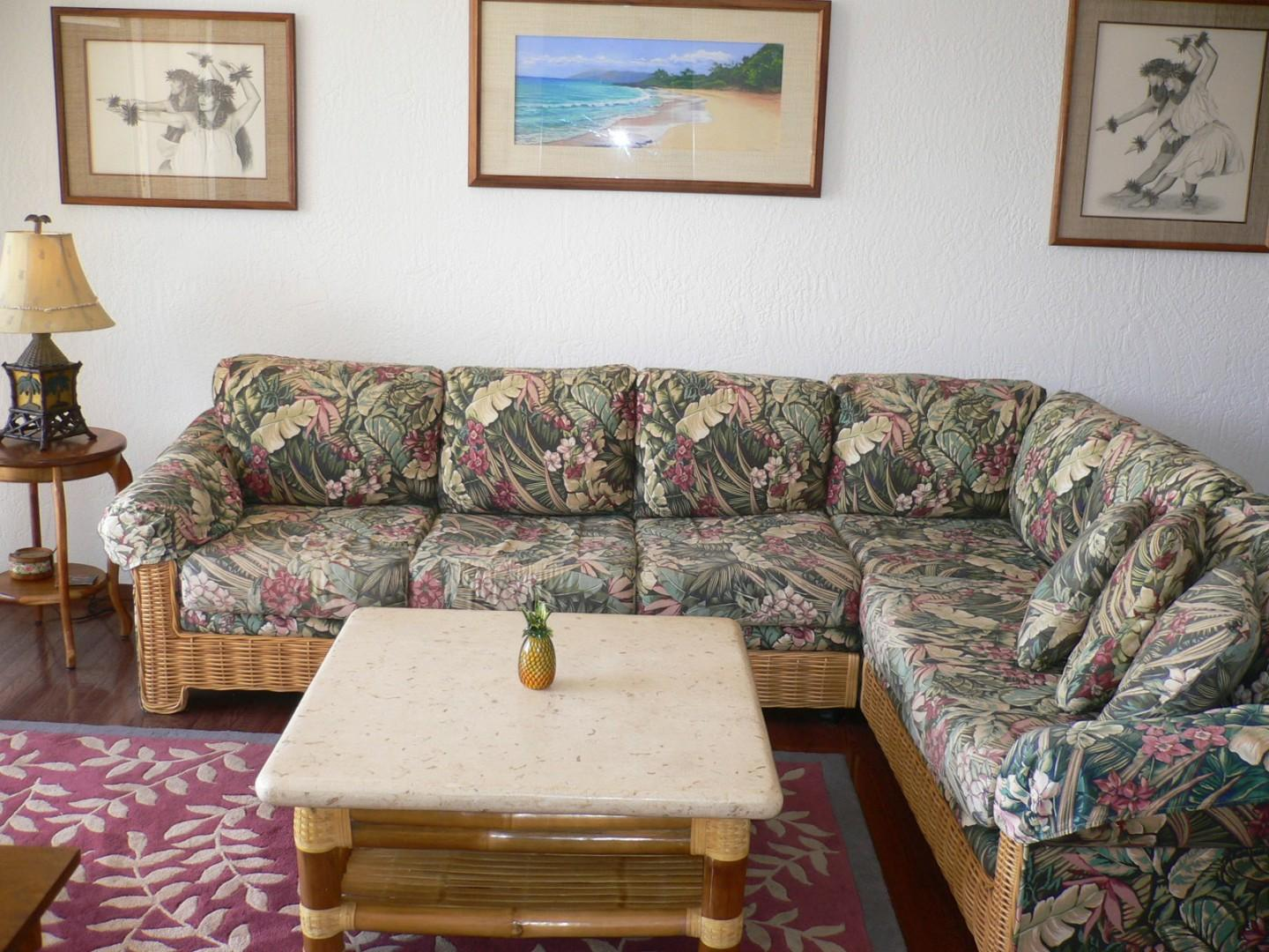 Comfortable furnishings in the living space.