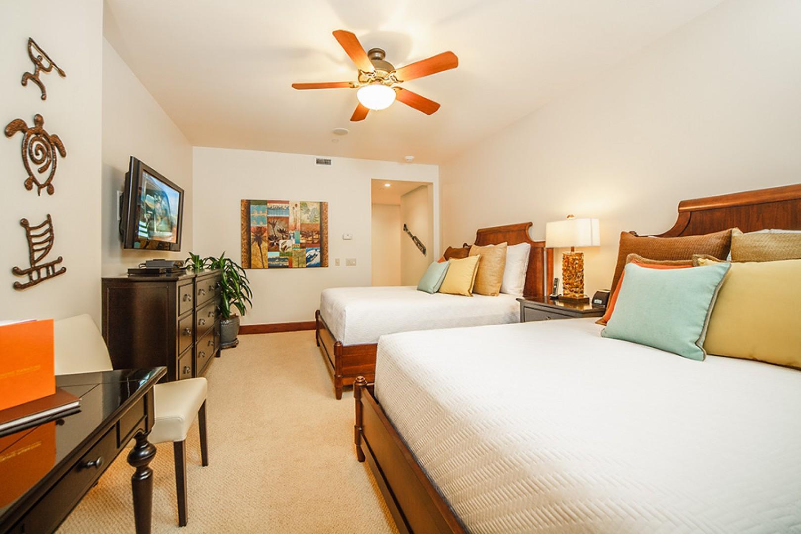 Queen beds in third bedroom.