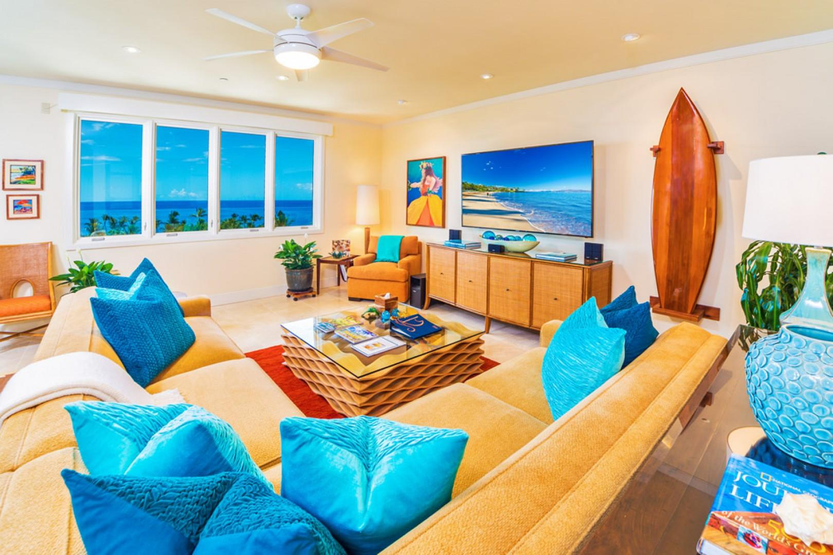 K507 Wailea Seashore Suite - The Stunningly Beautiful Great Room. Live Plants, Original Art, Hawaiiana Artifacts and Decor, 75
