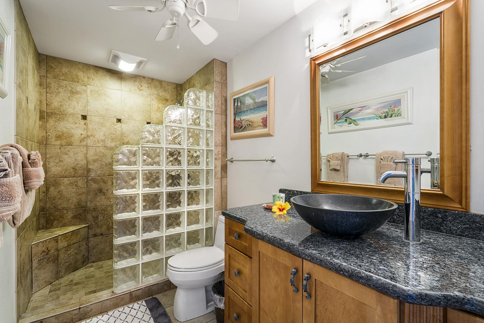 Upgraded bathroom with walk-in shower
