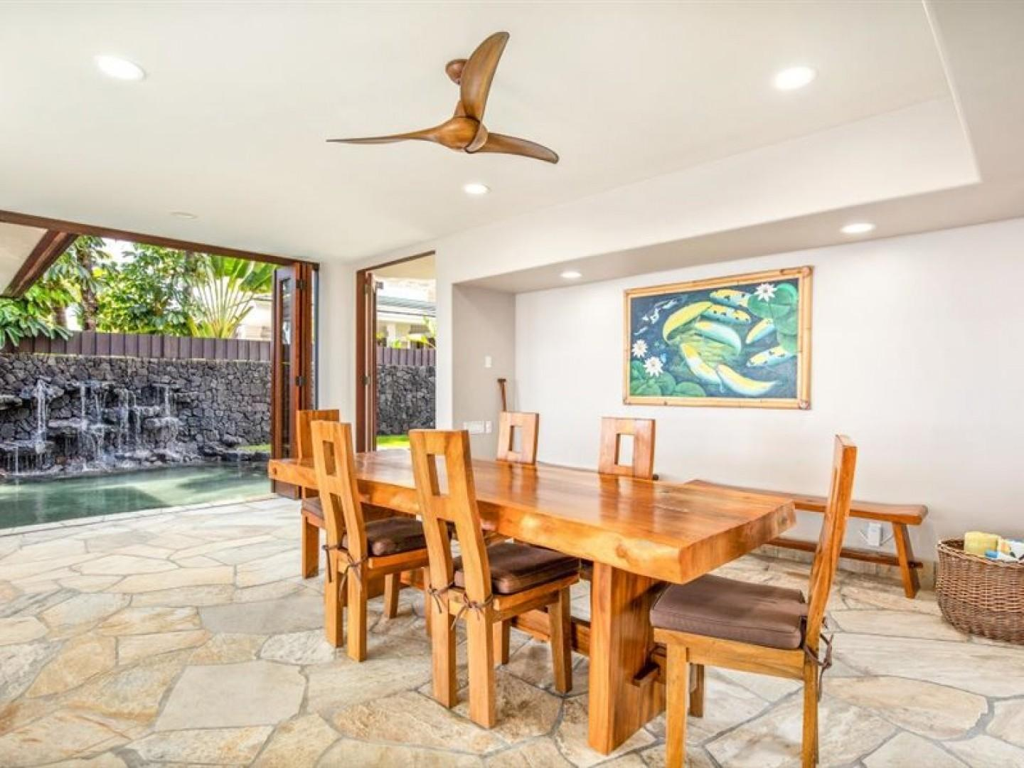 Indoor dining near the kitchen