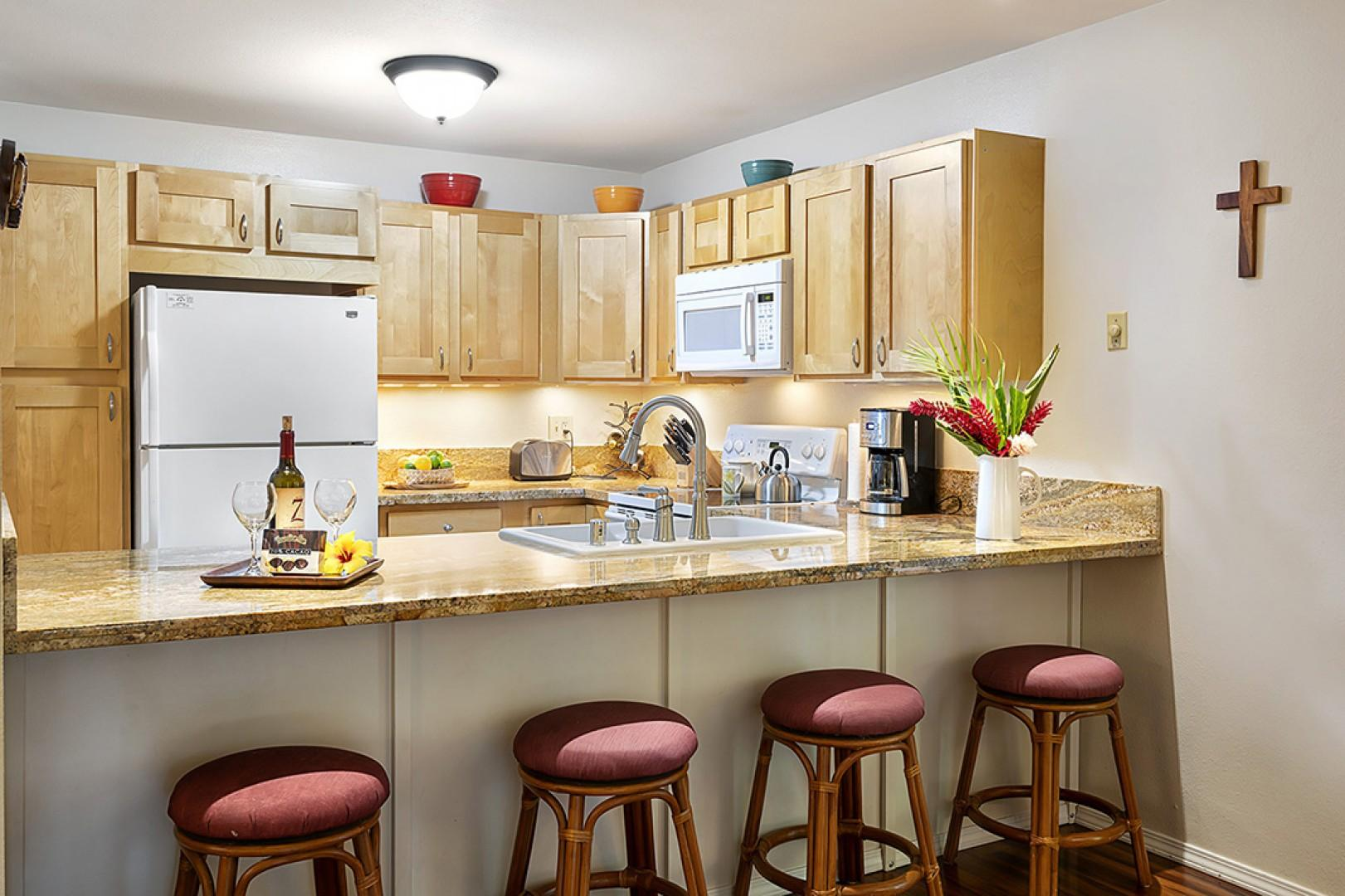 Upgraded kitchen with breakfast bar