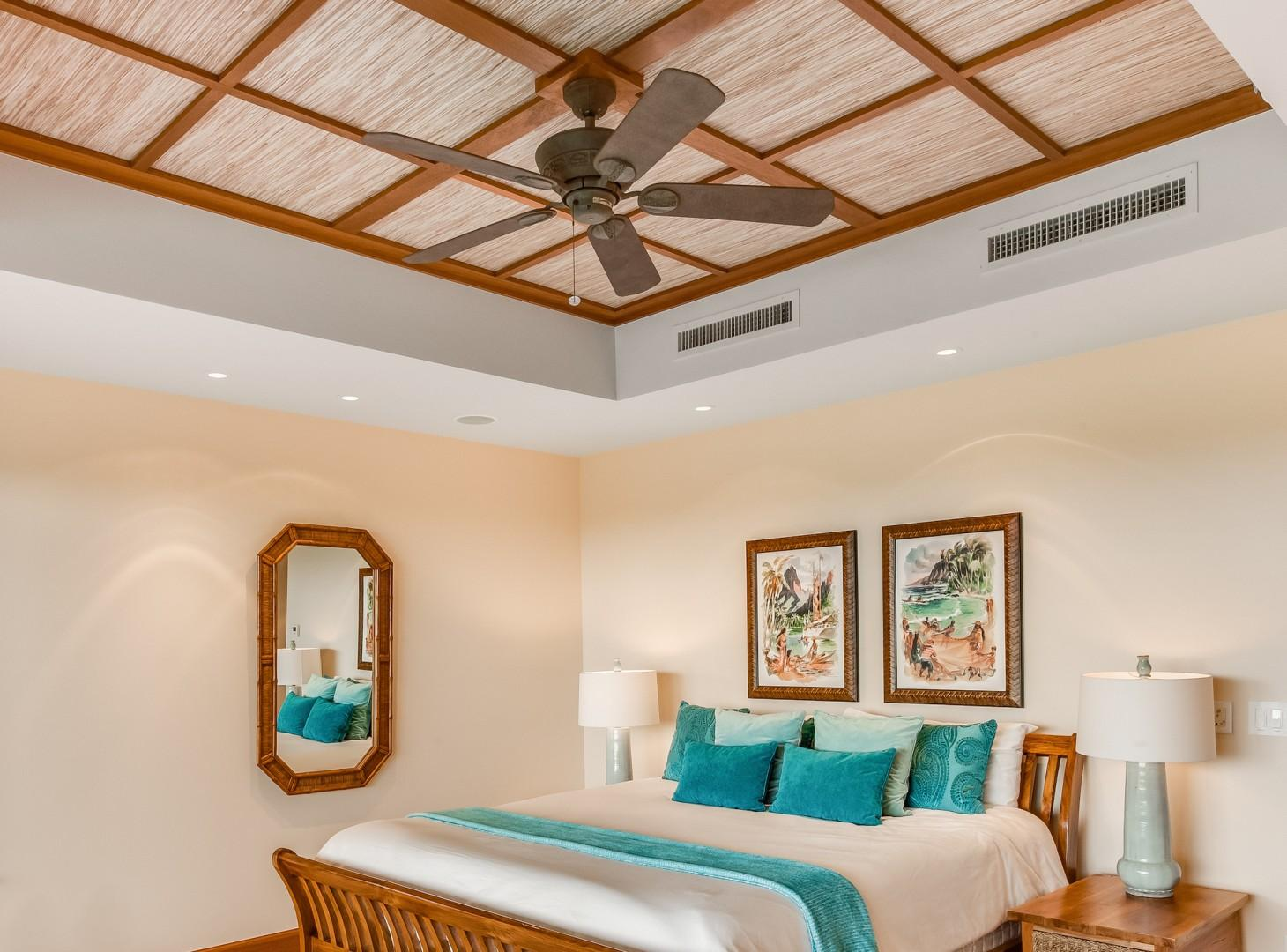 Alternate View of Downstairs Master w/ King Bed, Vaulted Ceilings and Ensuite Bath