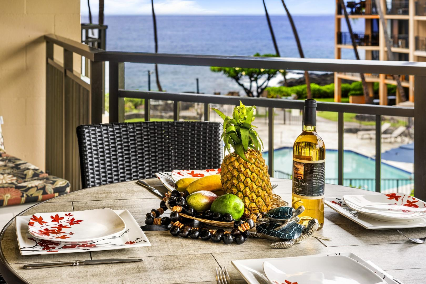 No better setting than on the Lanai at Kona Makai 2303!