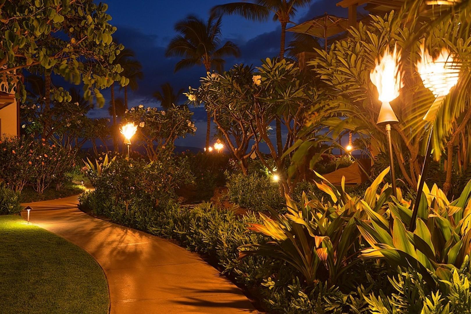 Tiki torches light the pathways throughout Wailea Beach Villas, from dusk to dawn.