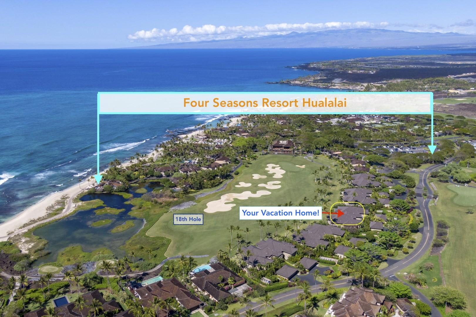 Map to demonstrate the proximity of your villa rental to resort center.
