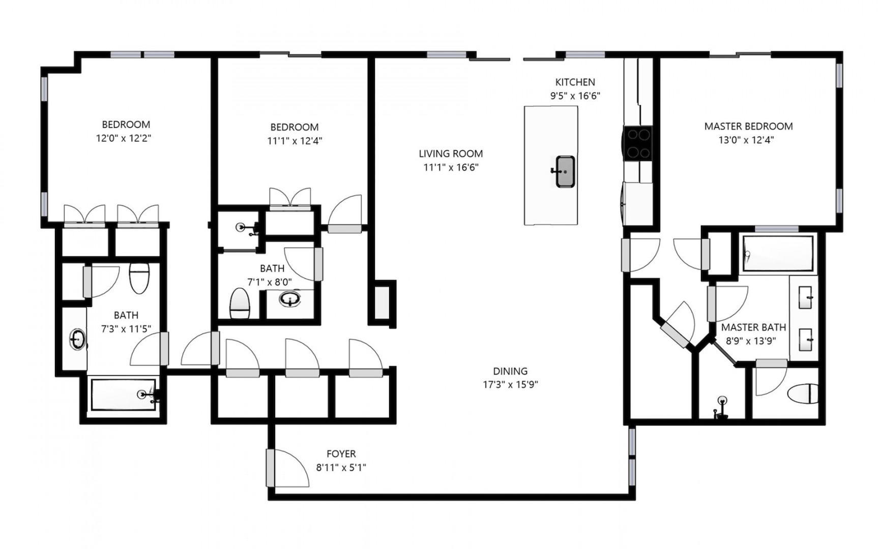 Floor plan details with all bedrooms and living areas featuring water-facing views.