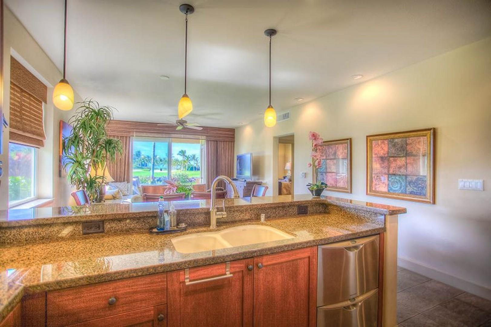 Gourmet kitchen with plenty of views while preparing a meal.