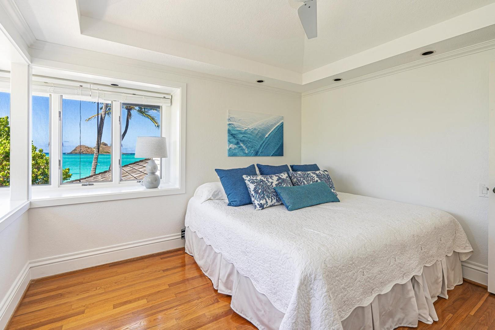 Lanikai Seashore Guest Bedroom Upstairs with Ocean Views
