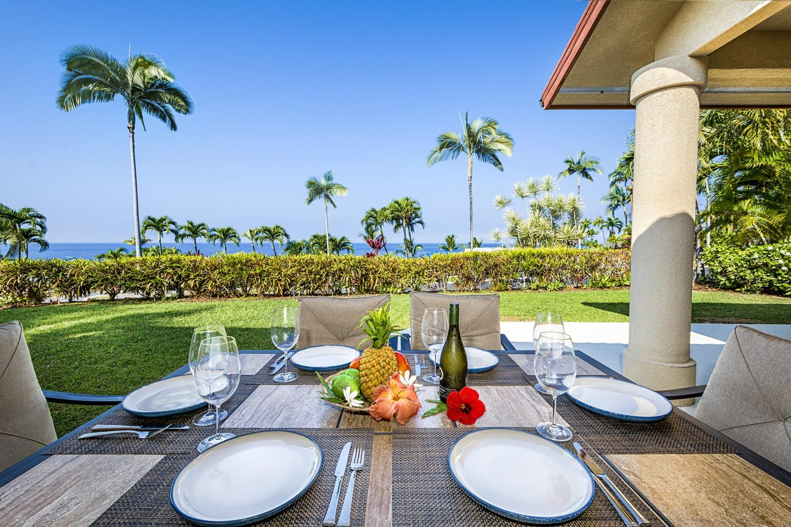 Enjoy water views and a home made meal on the spacious partially covered Lanai!